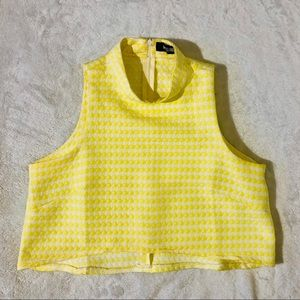 Missguided Yellow Houndstooth Crop Top Size 10